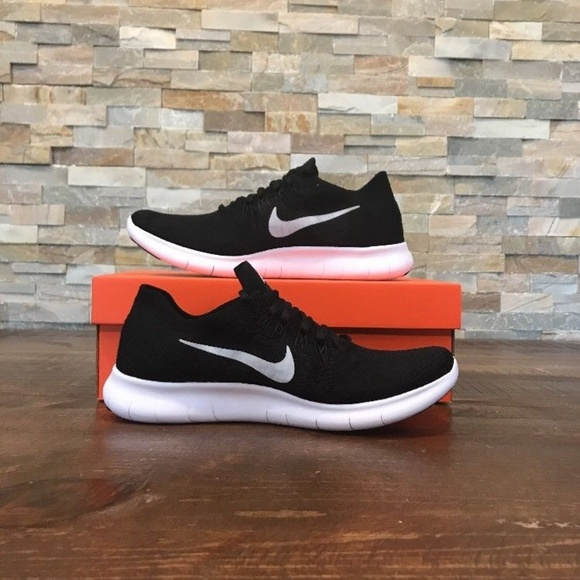 47a20990372c New Nike Free RN Flyknit 2017 Black White Running
